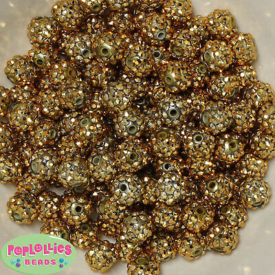 12mm Gold Resin Rhinestone Bubblegum Beads Lot 40 pc.chunky gumball (Gold Gumballs)