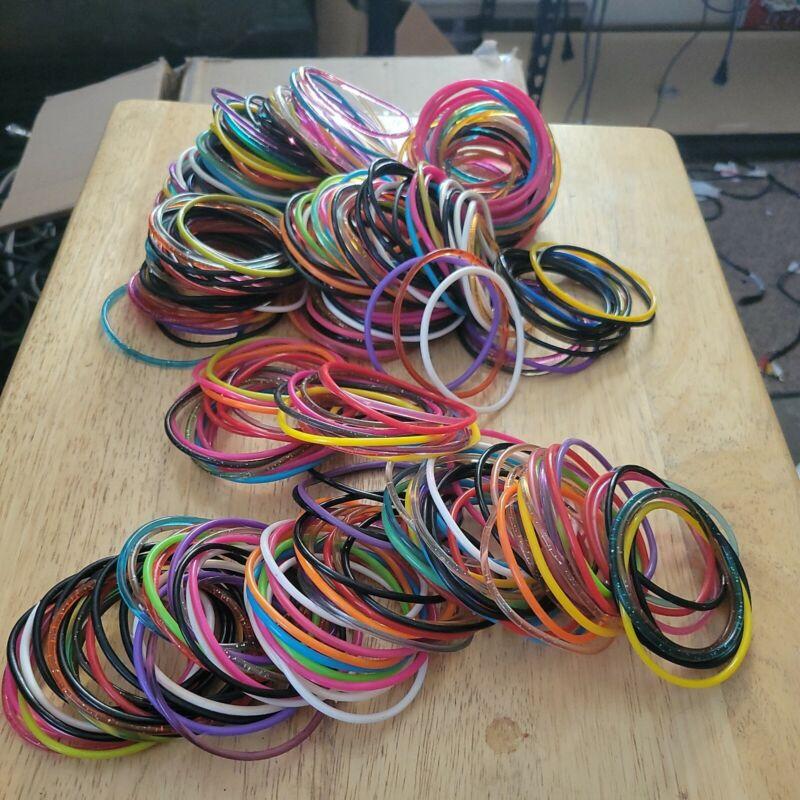 HUGE LOT Kids Jewelry Bracelets Plastic Jelly Glitter 300+ Oriental Trading