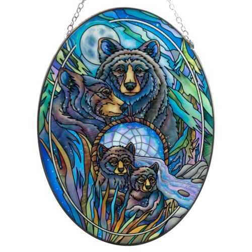 "Journey To Dreamtime Night Bears Suncatcher Hand Painted Glass AMIA 9"" x 6.5"""