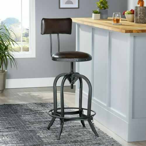 Samthorn Metal Industrial Adjustable Barstool With Backrest Benches, Stools & Bar Stools