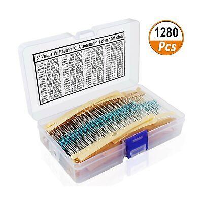 1280 Pieces 64 Values Resistor Kit 1 Assorted Resistors 1 Ohm-10m Ohm 14w ...