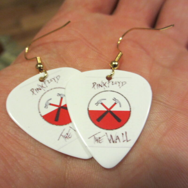 PINK FLOYD Earrings; The Wall Crossed Hammers; Guitar Pick Jewelry; Gold Tone