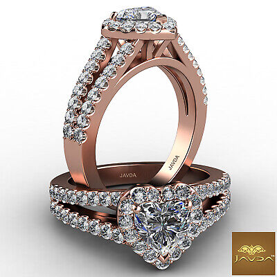 Halo French Pave Split Shank Heart Cut Diamond Engagement Ring GIA F VS1 1.25Ct 8