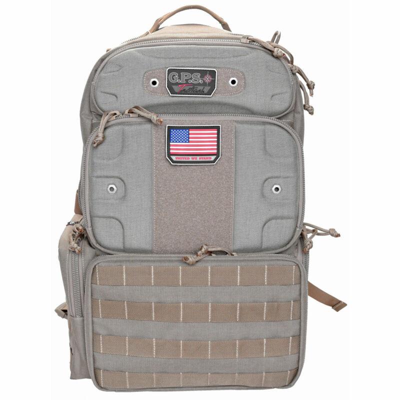 G Outdoors GPS-T1913BPT GPS Tactical Range Backpack Tall Holds 4 Handguns Tan