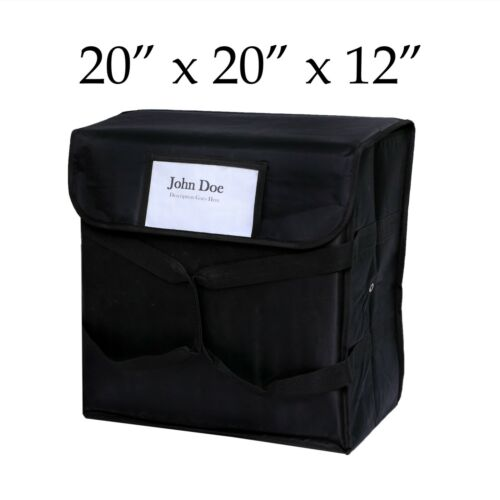 "20"" x 20"" x 12"" Black Nylon Insulated Best Pizza Delivery Bag"