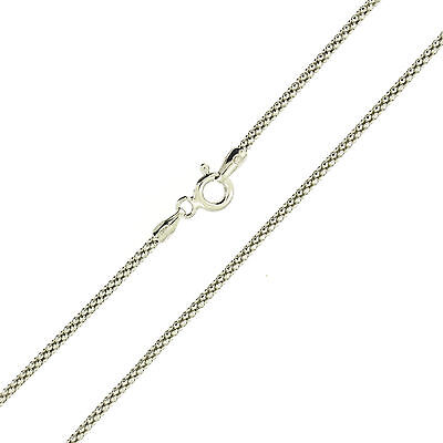 925 Sterling Silver Rhodium Finish Popcorn 1.5mm Chain Necklace Italy