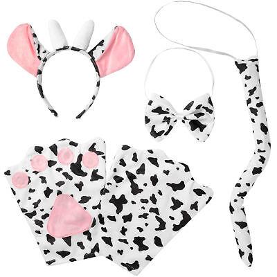 Kostüm Zubehör Set Kinder Kuh Milchkuh Tier 4-tlg Fasching Karneval (Milch Kostüm)
