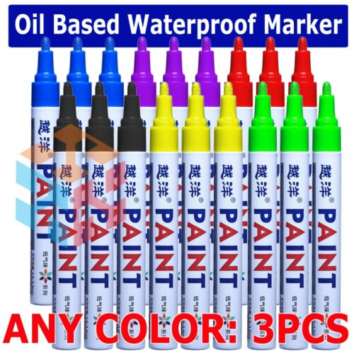 3PCs  Waterproof Permanent Paint Marker Pen Car Tyre Tire Tread Rubber Metal