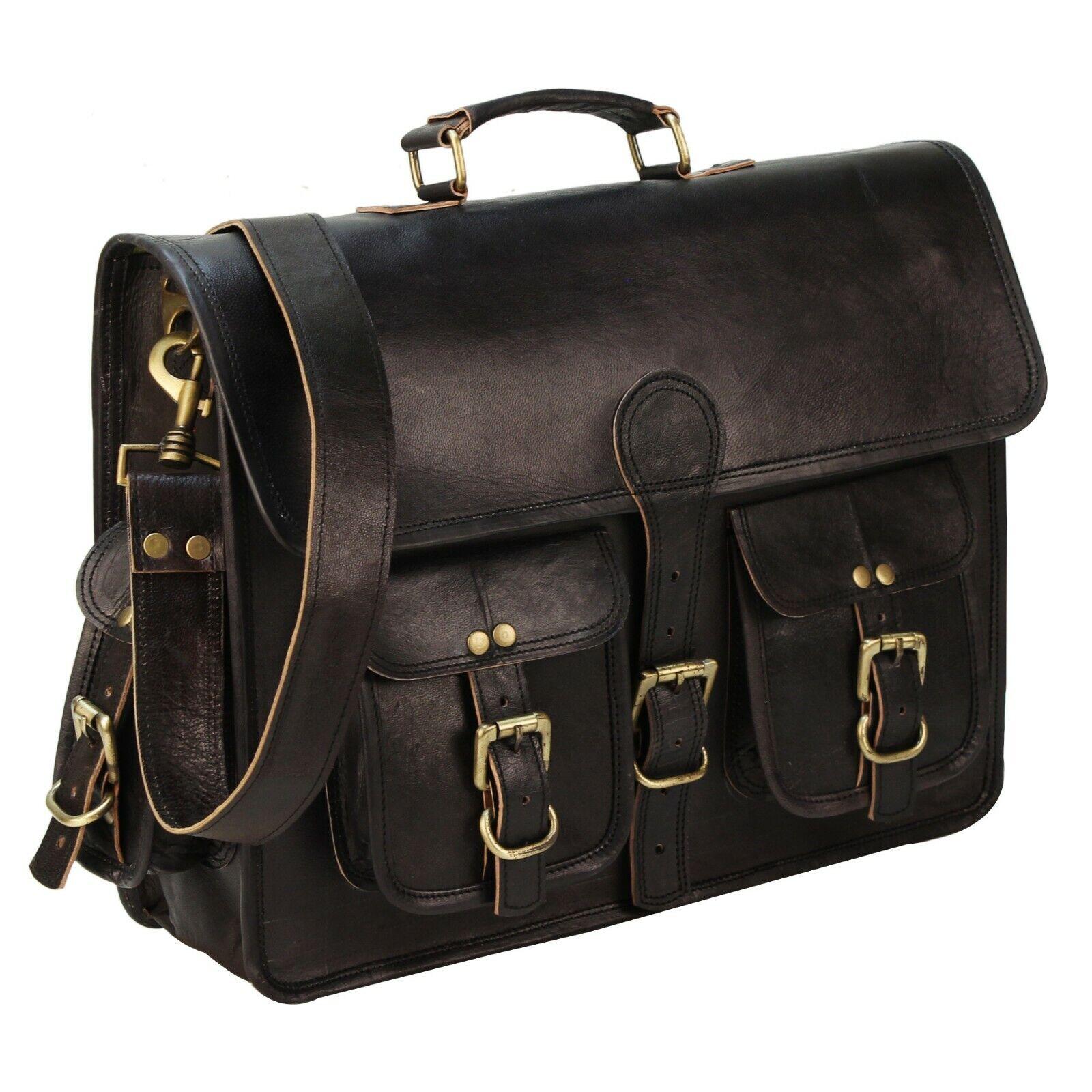 Mens Vintage Genuine Leather Messenger Satchel Laptop
