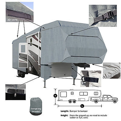 Deluxe 4-Layer 5th Wheel RV Motorhome Camper Cover 33' 34' 35'L Zipper Access