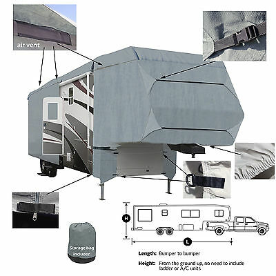 Deluxe 4-Layer 5th Wheel RV Motorhome Camper Cover 28' 29' 30'L Zipper Access