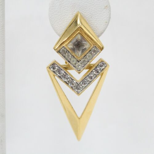 Givenchy Gold Tone Modern Arrow Dangle Clear Rhinestone Clip On Earring SINGLE