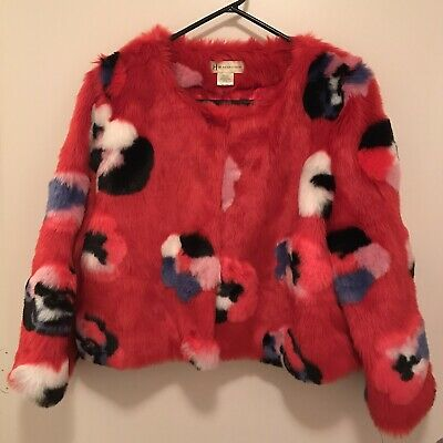 Heurueh Faux Fur Waist Coat Size M/L Stylish Fun Colorful Red Drag Crossdressing