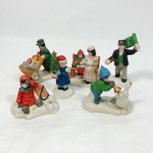 6 pcs Mercuries USA Miniature Christmas Figurines 1992 Village Figures Ceramic