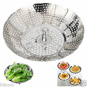 Stainless Steel Folding Steamer Steam Vegetable Basket Mesh Expandable Cooker