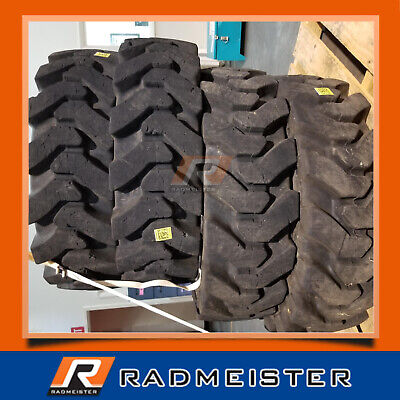 12x16.5 Solid Skid Steer Tires 4x Wrims Bobcat A220 A300 A770 S740 S750 S770