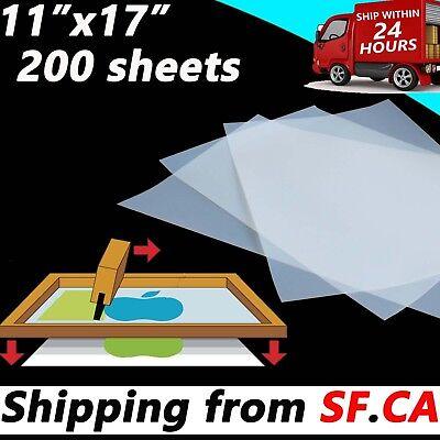200 Sheets11 X 17waterproof Screen Printing Transparency Inkjet Positive Film