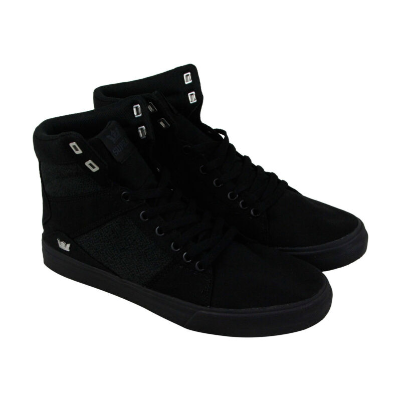Supra Aluminum 05662-001-M Mens Black Canvas Surf Lace Up Skate Sneakers Shoes 8