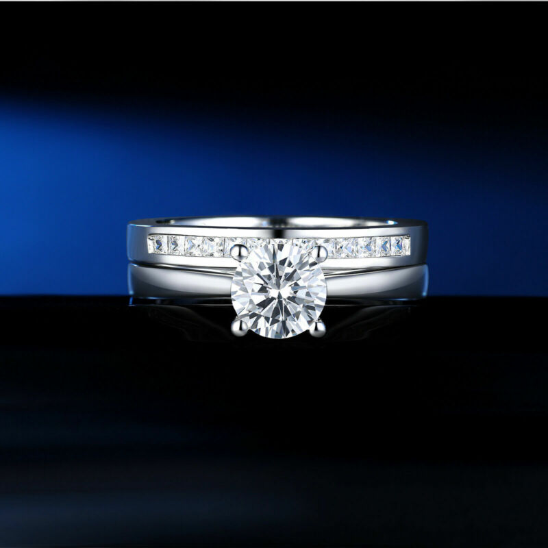 Wedding Rings For Women Engagement Ring Set 1.2ct Round Sterling Silver Aaaa Cz