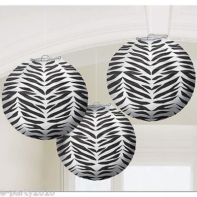 Zebra Print Baby Shower (ZEBRA PRINT ROUND PAPER LANTERNS (3) ~Baby Bridal Shower Birthday Party)