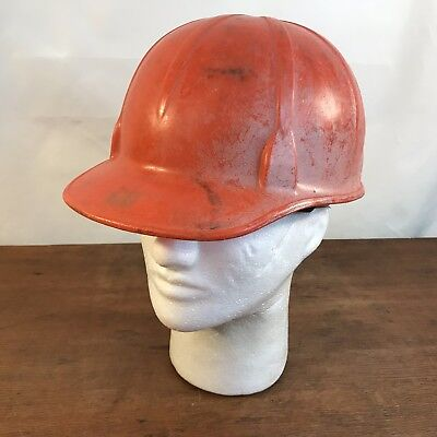 Vintage Davis Orange Plastic Safety Construction Hard Hat
