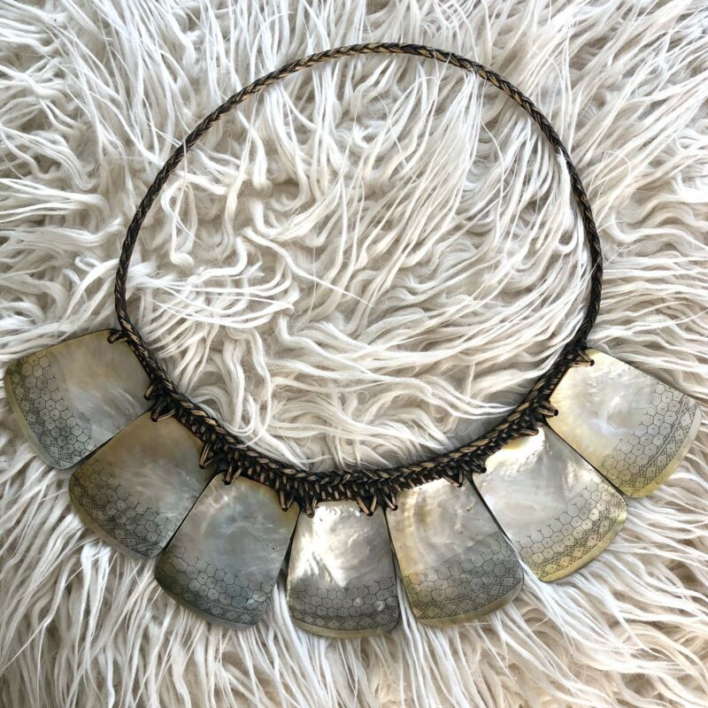 Philippines pangalapang mother of pearl engraved Ifugao tribal necklace