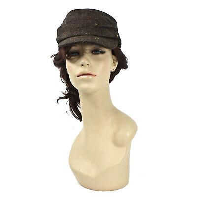 Adult Women's Kepi Hat Dark Brown Civil War Style Flat Button Pocket Herringbone