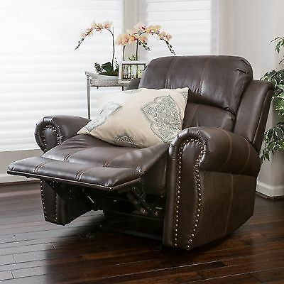 Traditional Brown Leather Glider Recliner Club Chair