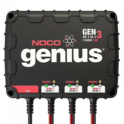 NOCO GENM3 On Board 3 Bank 12A Battery Charger for 12V trolling motor/generator