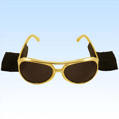 Rockstarbrille Elvis mit Koteletten Brille Sonnenbrille f. Elviskostüm (Elvis Sonnenbrille Mit Koteletten)