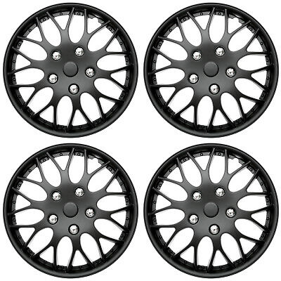 "4 Piece SET Hub Caps MATTE BLACK 14"" Inch Wheel Covers for OEM Rims Cover Cap"