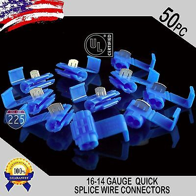 50 Pack 16-14 Gauge Blue Quick Splice Tap Wire Connectors Install Terminals Ul