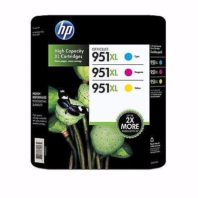 HP 951XL Color High-Yield Printer Ink Cartridges, 3-Pack Tri-Pack NIP NEW SEALED