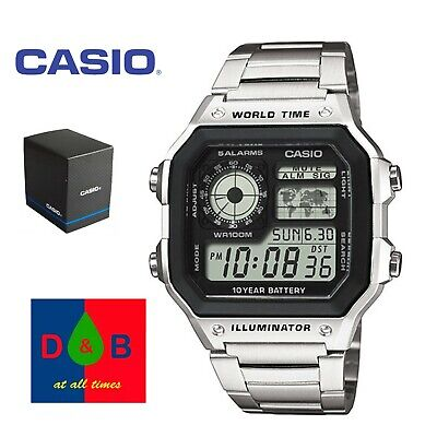 Casio AE-1200WHD-1 Men's Digital Silver Steel Bracelet Watch *BOXED NEW* RRP £45