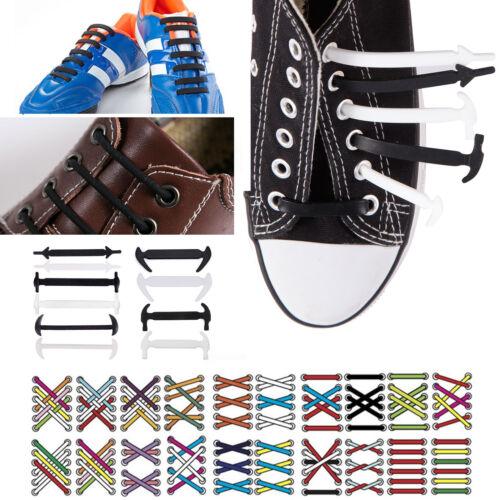 36-48x No Tie Silicone Shoelaces Elastic Silicon Run Shoe Laces Jogging Lazy