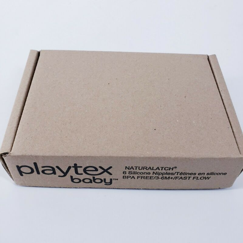 NEW Playtex Baby NaturaLatch Silicone Nipples Fast Flow 3-6M+ 6 Count Sealed