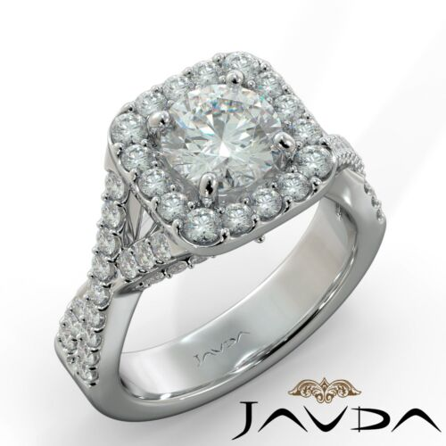 2.1 ct Round Cut Diamond  Engagement Twisted Shank Ring GIA F VS2 14k White Gold