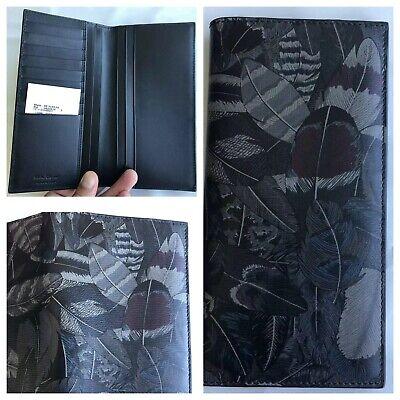 Salvatore Ferragamo Melton Crinkled Calf Leather Long Wallet Blue Black Feather