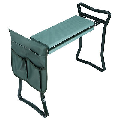 Garden Kneeler Seat w/EVA Folding Portable Bench Kneeling Pad and Tool Pouch New