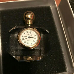 Badash crystal desk clock perfume bottle shape