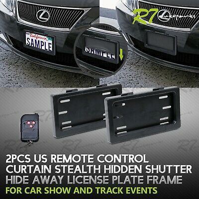 FITS TOYOTA! 2X CAR POWERED REMOTE CURTAIN COVER HIDE AWAY LICENSE FRAME PLATE