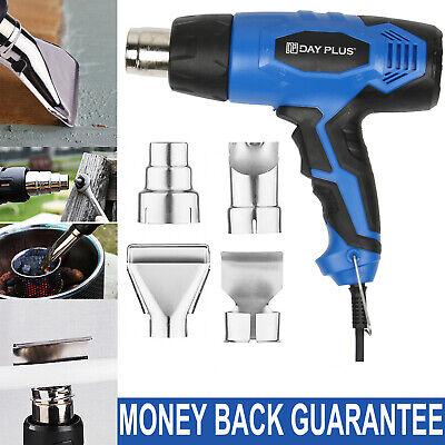 2000w 110v Heat Gun Hot Air Gun Dual-temperature With 4 Nozzles Power Tools Blue