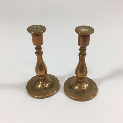 Antique Pair Of Miniature Bell Metal? Candlesticks 7.5cm In Height