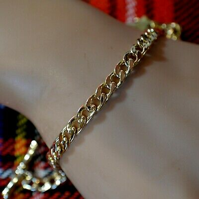 9 ct GOLD second hand T/Bar hollow curb chain bracelet