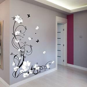 gro e schmetterling blumen wand sticker aufkleber deko. Black Bedroom Furniture Sets. Home Design Ideas