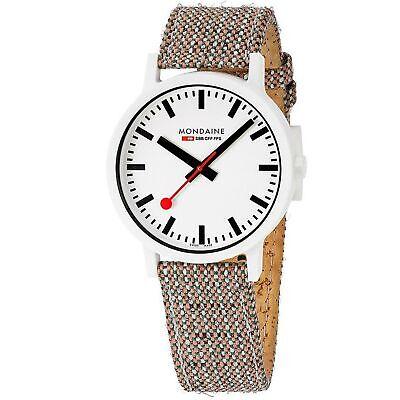 Mondaine Essence Quartz White Dial Brown Textile Strap Watch MS1.41110.LG