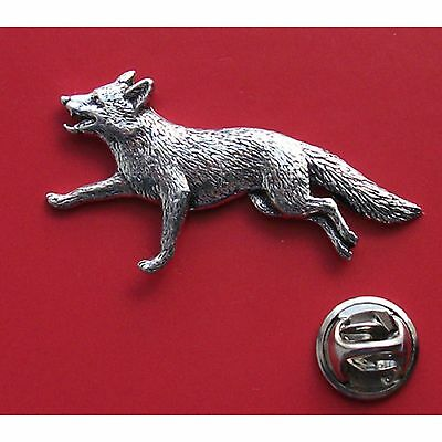 English Pewter FOX foxes   Pin Badge Tie Pin / Lapel Badge (XTSBPA03)