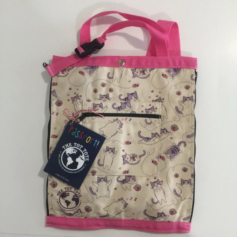 Passport! The Tot Tote Cats Design Kids Tote Kawaii Small Bookbag