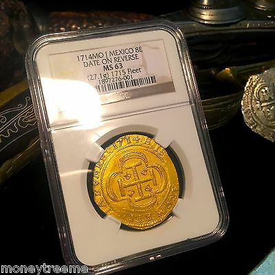 Click now to see the BUY IT NOW Price! 1715 FLEET SHIPWRECK ROYAL LIKE MEXICO 8 ESCUDOS 1714 DATE ON REVERSE NGC 63