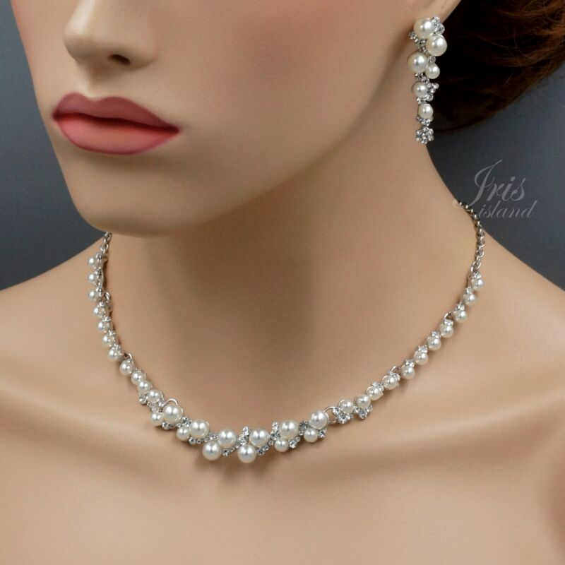 White Pearl Clear Crystal Necklace Earrings Wedding Jewelry Set 6825 Silver Tone